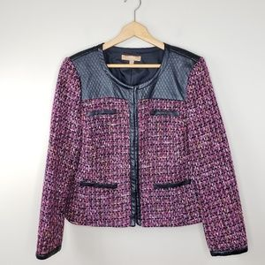 Ellen Tracy | Faux Leather Detail Tweed Jacket
